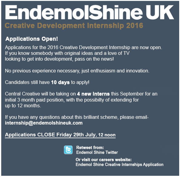 Endemol Shine Internship 2016